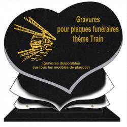 PLAQUE FUNÉRAIRE COEUR GRANIT TRAINS SUR SOCLE