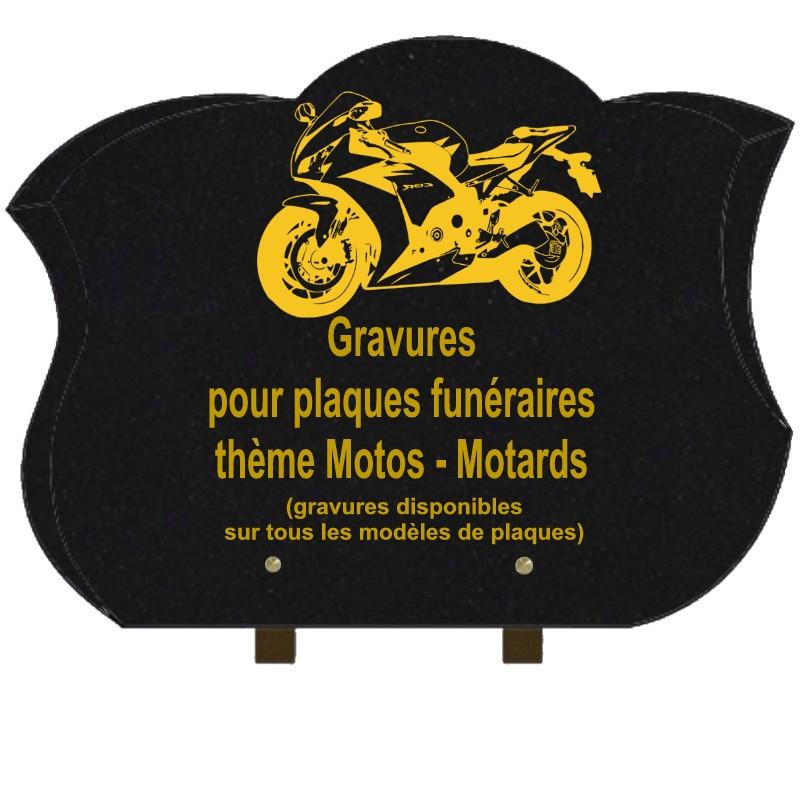 PLAQUE FUNÉRAIRE CHANFREINÉE GRANIT SUR PIEDS MOTOS MOTARDS