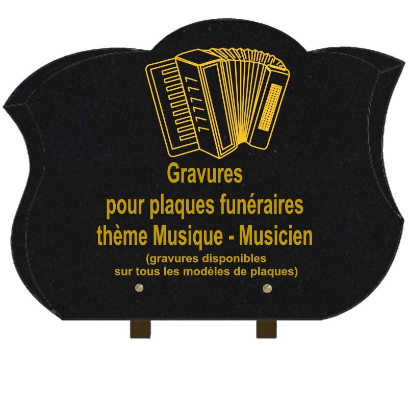 PLAQUE FUNÉRAIRE CHANFREINÉE GRANIT SUR PIEDS MUSIQUE MUSICIENS