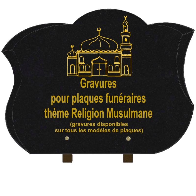 PLAQUE FUNÉRAIRE CHANFREINÉE GRANIT SUR PIEDS RELIGIONS