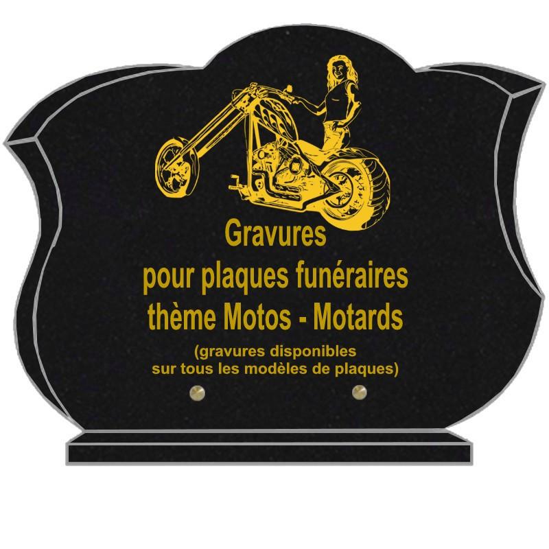 PLAQUE FUNÉRAIRE CHANFREINÉE GRANIT SUR SOCLE MOTOS MOTARDS