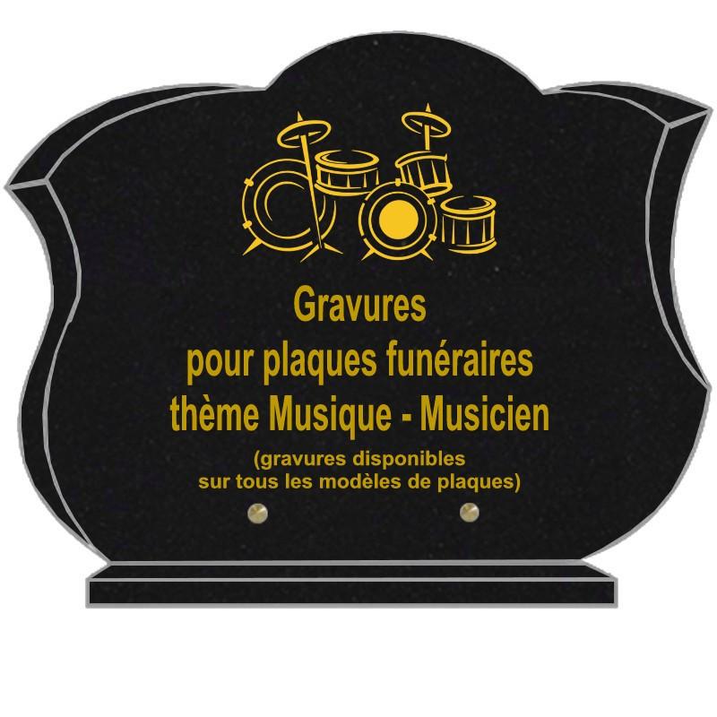 PLAQUE FUNÉRAIRE CHANFREINÉE GRANIT SUR SOCLE MUSIQUE MUSICIENS