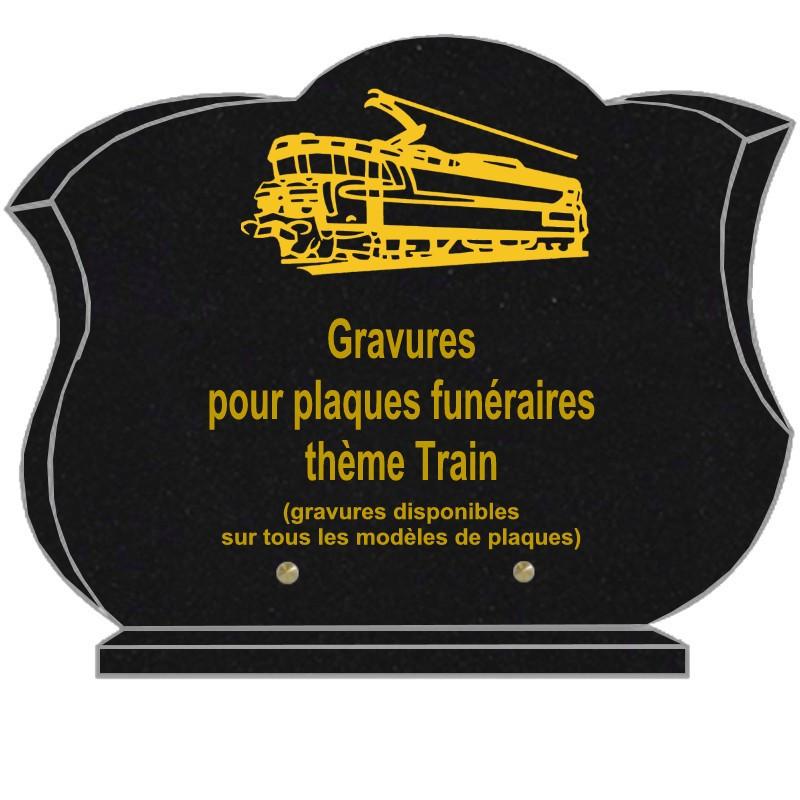 PLAQUE FUNÉRAIRE CHANFREINÉE GRANIT SUR SOCLE TRAINS