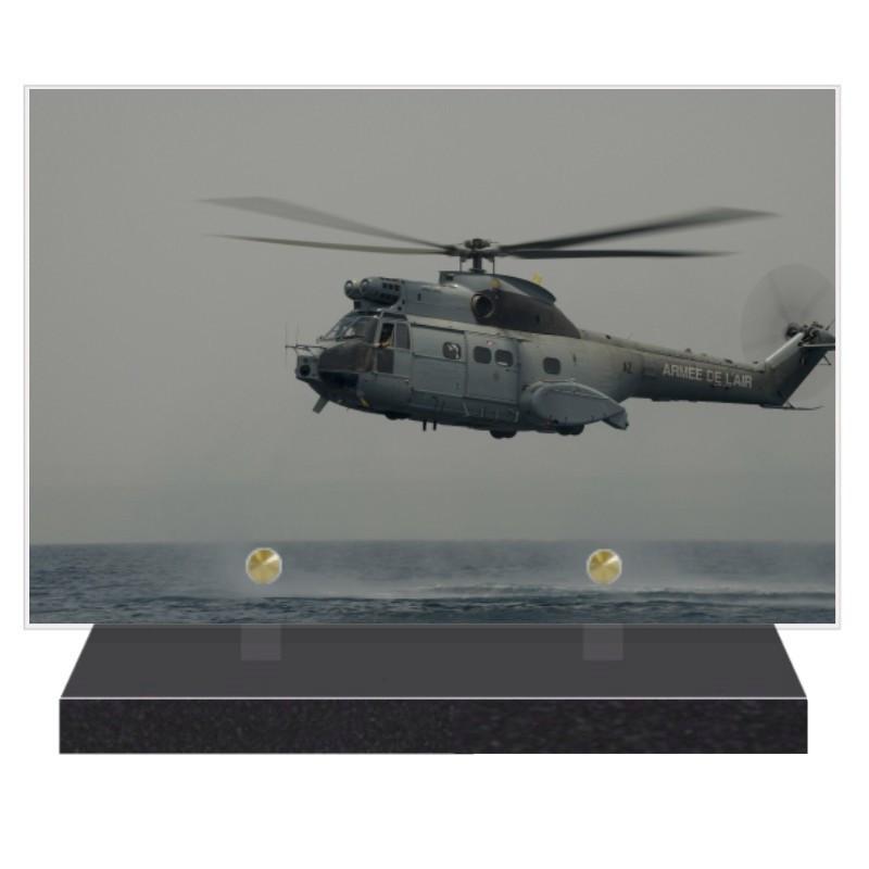 PLAQUE FUNÉRAIRE HELICOPTERE AVIATION 20 cm X 30 cm FPF9031