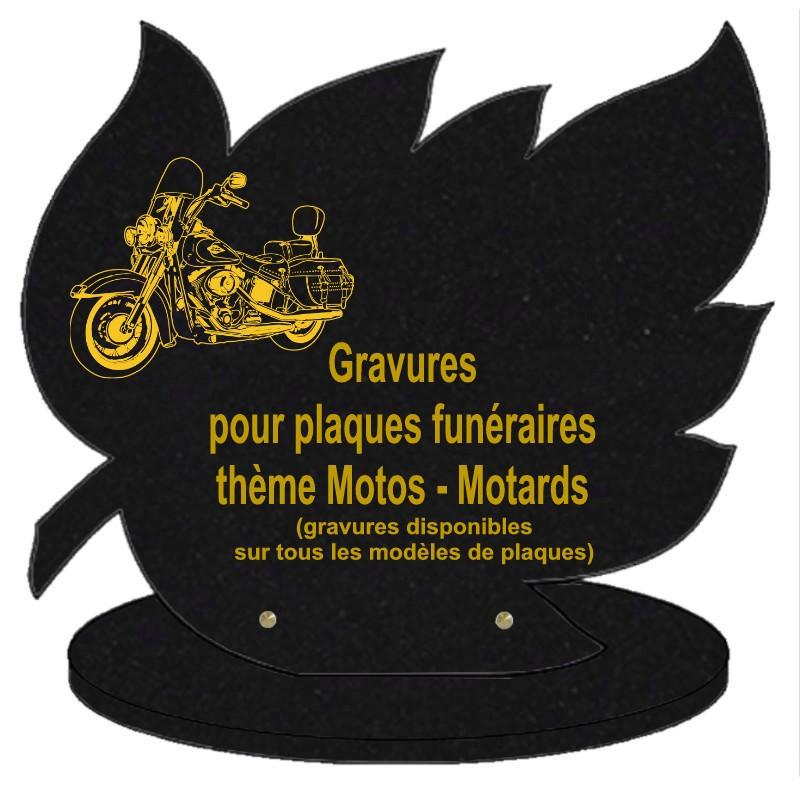 PLAQUE FUNÉRAIRE FEUILLE GRANIT SUR SOCLE MOTOS MOTARDS
