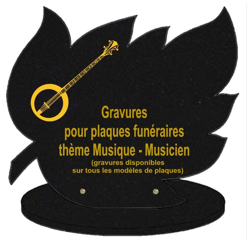 PLAQUE FUNÉRAIRE FEUILLE GRANIT SUR SOCLE MUSIQUE MUSICIENS