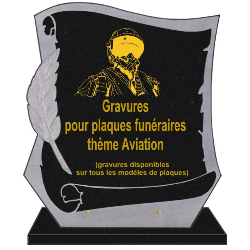 PLAQUE FUNÉRAIRE PARCHEMIN GRANIT SUR SOCLE AVIONS AVIATION