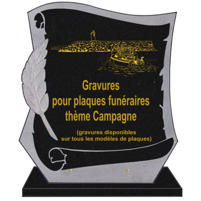 PLAQUE FUNÉRAIRE PARCHEMIN GRANIT SUR SOCLE CAMPAGNE