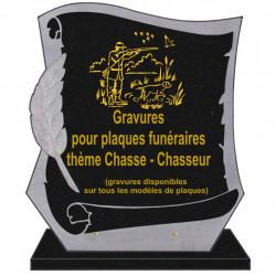 PLAQUE FUNÉRAIRE PARCHEMIN GRANIT SUR SOCLE CHASSE CHASSEURS