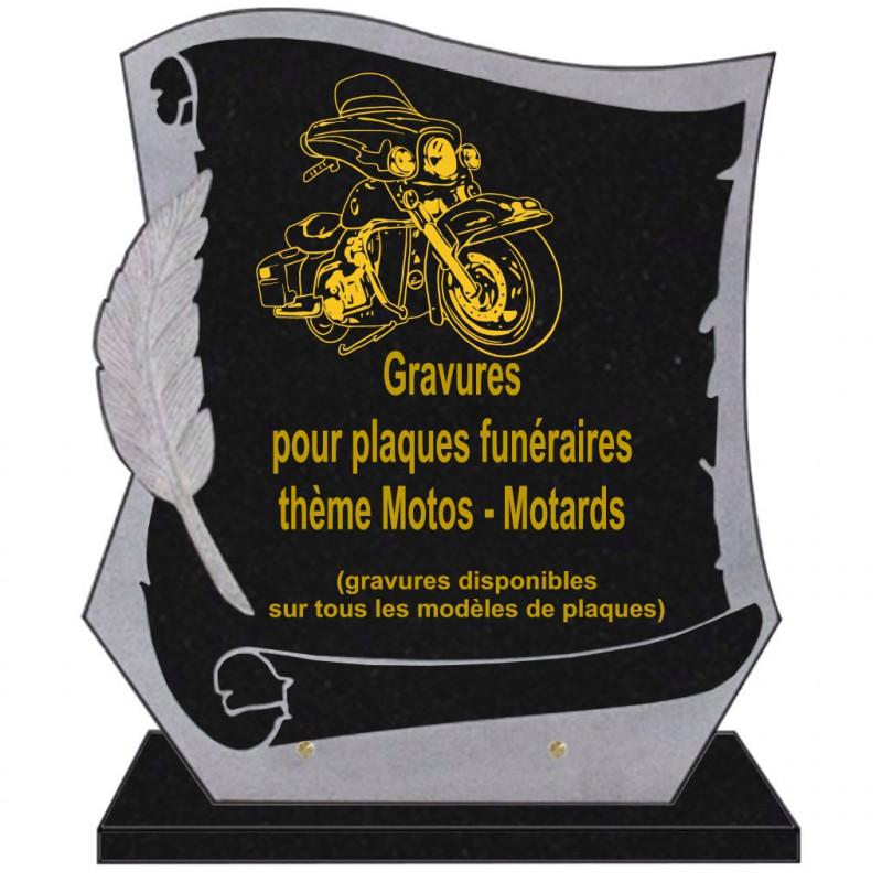 PLAQUE FUNÉRAIRE PARCHEMIN GRANIT SUR SOCLE MOTOS MOTARDS