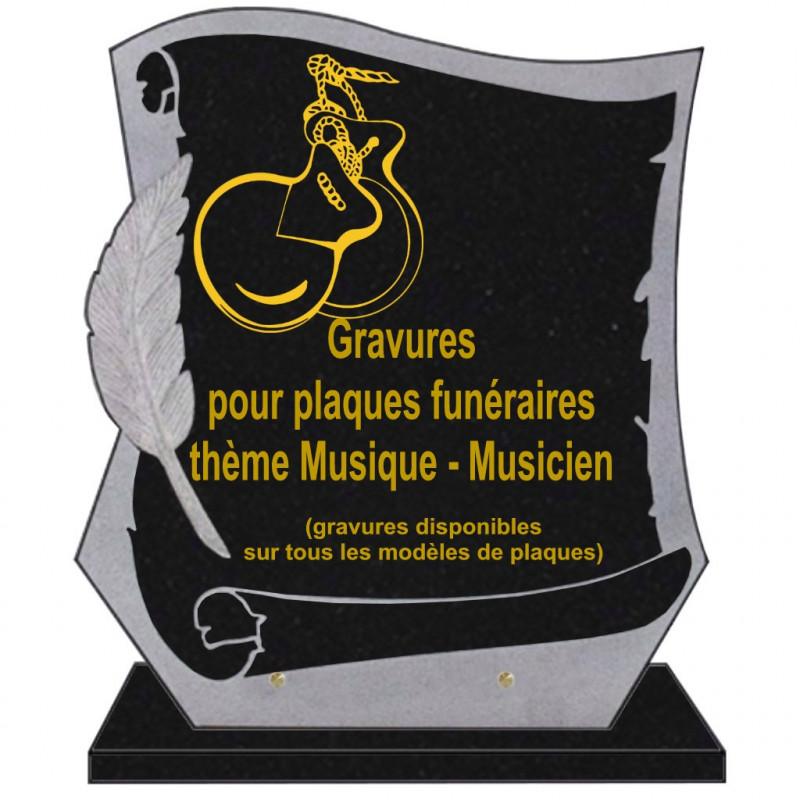 PLAQUE FUNÉRAIRE PARCHEMIN GRANIT SUR SOCLE MUSIQUE MUSICIENS