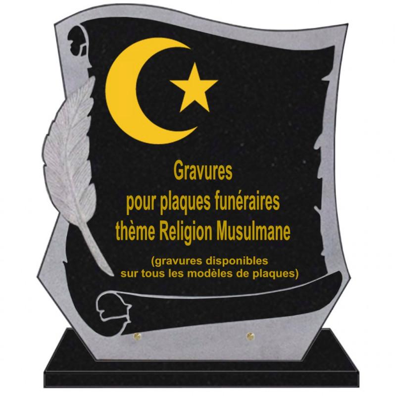 PLAQUE FUNÉRAIRE PARCHEMIN GRANIT SUR SOCLE RELIGIONS