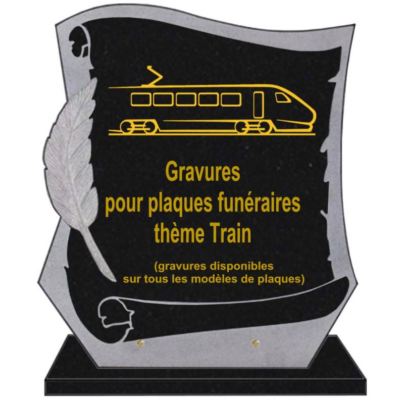 PLAQUE FUNÉRAIRE PARCHEMIN GRANIT SUR SOCLE TRAINS
