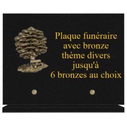 PLAQUE FUNÉRAIRE 20X30 GRANIT AVEC BRONZE THEME DIVERS
