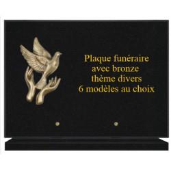 PLAQUE FUNÉRAIRE 25X35 GRANIT AVEC BRONZE THÈME DIVERS