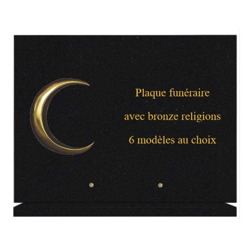 PLAQUE FUNÉRAIRE 30X40 SUR SOCLE AVEC BRONZE RELIGIONS