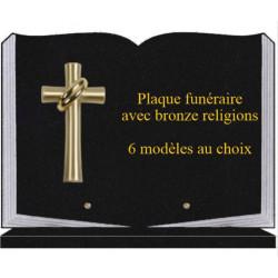 PLAQUE FUNÉRAIRE 25X35 LIVRE SOCLE BRONZE RELIGIONS