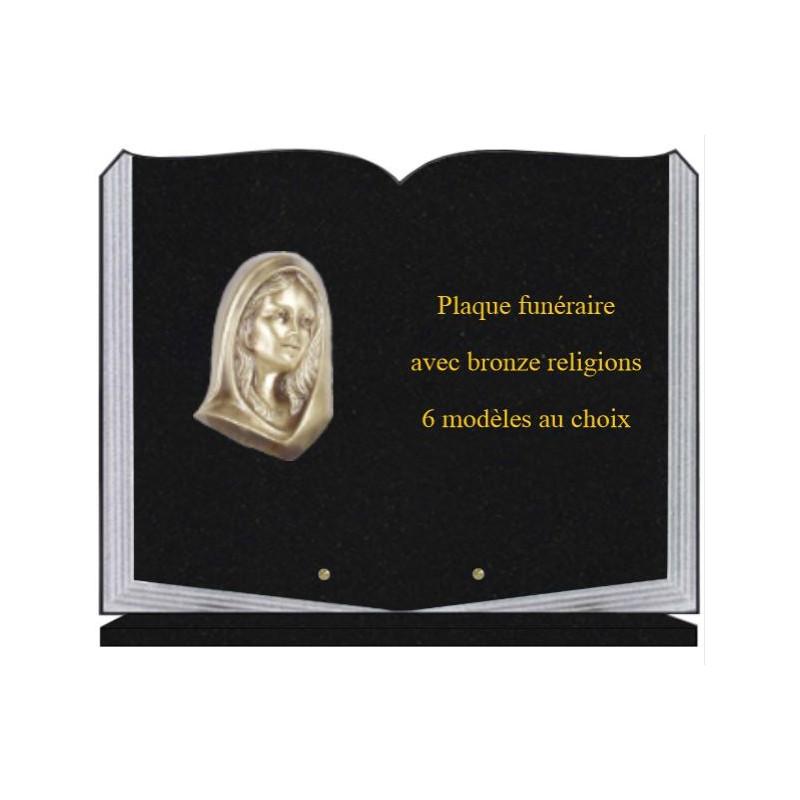 PLAQUE FUNÉRAIRE 35X45 LIVRE SUR SOCLE BRONZE RELIGIONS
