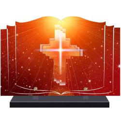 PLAQUE FUNÉRAIRE LIVRE CROIX RELIGION A PERSONNALISER FPF6416