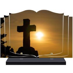 PLAQUE FUNÉRAIRE LIVRE CROIX RELIGION A PERSONNALISER FPF6422