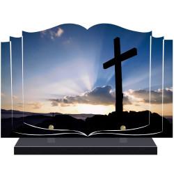 PLAQUE FUNÉRAIRE LIVRE CROIX RELIGION A PERSONNALISER FPF6423