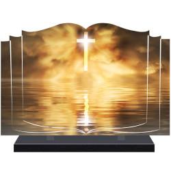 PLAQUE FUNÉRAIRE LIVRE RELIGION CROIX A PERSONNALISER FPF6426