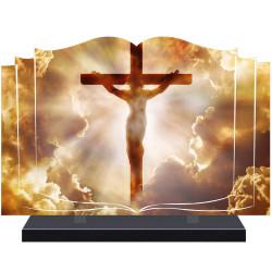 PLAQUE FUNÉRAIRE LIVRE CROIX CHRIST A PERSONNALISER FPF6427