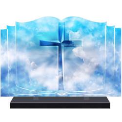 PLAQUE FUNÉRAIRE LIVRE CROIX CHRIST A PERSONNALISER FPF6428
