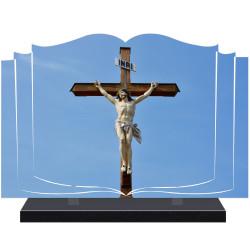 PLAQUE FUNÉRAIRE LIVRE RELIGION CROIX A PERSONNALISER FPF6430