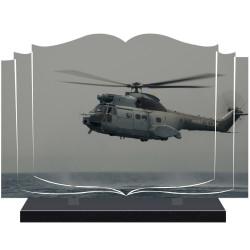 PLAQUE FUNÉRAIRE LIVRE ARMÉE HÉLICOPTÈRE A PERSONNALISER FPF9031