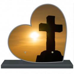 PLAQUE FUNÉRAIRE PERSONNALISABLE COEUR RELIGION CROIX FPF6422