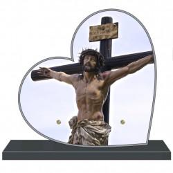 PLAQUE FUNÉRAIRE PERSONNALISABLE COEUR CHRIST CROIX FPF6425