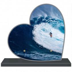 PLAQUE FUNÉRAIRE PERSONNALISABLE COEUR MER SURF FPF10583