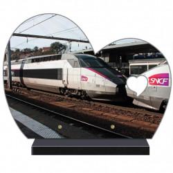 PLAQUE FUNÉRAIRE DEMI COEUR PERSONNALISABLE TRAIN NX150