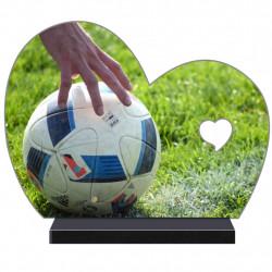 PLAQUE FUNÉRAIRE DEMI COEUR FOOTBALL FOOTBALLEUR FPF10175