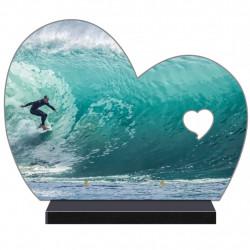 PLAQUE FUNÉRAIRE DEMI COEUR SURF SURFEURS FPF10970