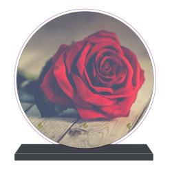 PLAQUE FUNÉRAIRE ROSE ROUGE RONDE 20 cm X 20 cm FPF2023