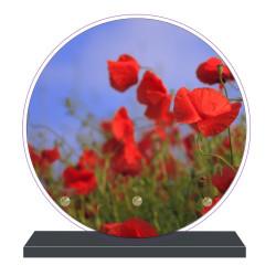 PLAQUE FUNÉRAIRE RONDE FLEURS COQUELICOTS 20 cm X 20 cm FPF2092