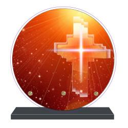 PLAQUE FUNÉRAIRE RONDE THÈME RELIGIONS 20 cm X 20 cm FPF6416