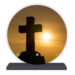 PLAQUE FUNÉRAIRE RONDE RELIGIONS CROIX 20 cm X 20 cm FPF6422