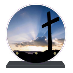 PLAQUE FUNÉRAIRE RONDE RELIGIONS CROIX 20 cm X 20 cm FPF6423
