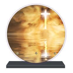 PLAQUE FUNÉRAIRE RONDE RELIGIONS CROIX 20 cm X 20 cm FPF6426