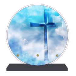 PLAQUE FUNÉRAIRE RONDE RELIGIONS CROIX 20 cm X 20 cm FPF6428