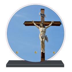 PLAQUE FUNÉRAIRE RONDE CROIX CHRIST 20 cm X 20 cm FPF6430