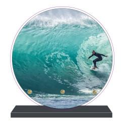 PLAQUE FUNÉRAIRE SURF SURFEUR RONDE 20 cm X 20 cm FPF10970