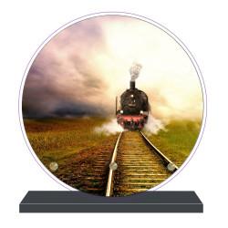 PLAQUE FUNÉRAIRE TRAINS RONDE 20 cm X 20 cm FPFNX070