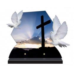 PLAQUE FUNÉRAIRE COLOMBE 40 cm X 31.5 cm CROIX CHRIST FPF6423