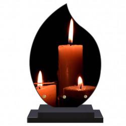 PLAQUE FUNÉRAIRE FLAMME BOUGIES 22 cm X 32 cm FPF5033