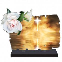 PLAQUE FUNÉRAIRE ORIGINALE THÈME RELIGION CROIX FPF6426