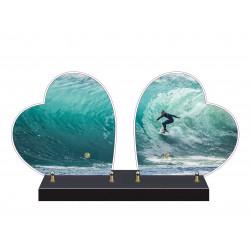 PLAQUE FUNÉRAIRE DOUBLE COEUR SURF SURFEUR FPF10970